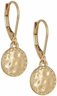 Napier Gold Tone Hammered Disc Drop Earrings One Size Goldtone