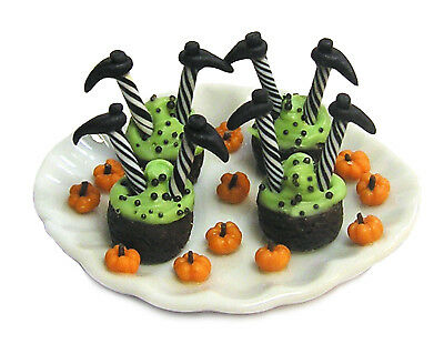 Dollhouse Miniature Halloween Sinking Witch Frosted Brownies Handmade 1:12 scale