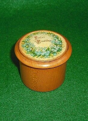 MAUCHLINE WARE SMALL TOILET POWDER POT VICTORIAN COLOUR FLORAL ILLUSTRATION vgc