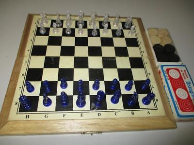 Chess & Draughts Set in Folding Timber Case Blue & Clear Plastic Men Backgammon
