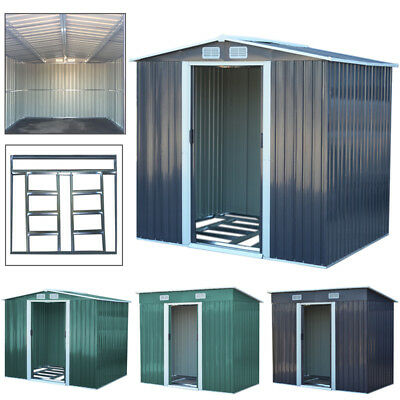 Convenient Garden Shed Metal Apex Roof Outdoor Storage With Free Foundation Base
