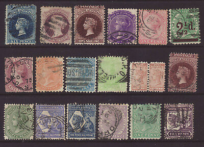 SOUTH AUSTRALIA Group of 18 different stamps used