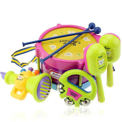 5Pcs Kids Baby Boy Girl Roll Drum Musical Instruments Band Kit Educational Toys