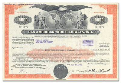 Pan American World Airways, Inc. Bond Certificate (Hard to Find Type)