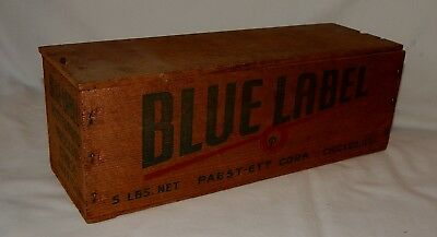 Vintage Wood Blue Label 5lb Cheese Box with Lid