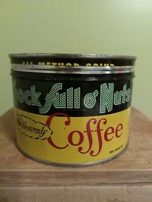 Vintage Chock Full O'Nuts One-Pound Metal Coffee Can with Matching Lid