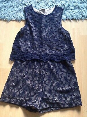 Gorgeous Girls Navy Floral 12yrs Shorts Jumpsuit Navy Blue