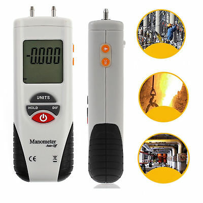 Small Digital Manometer Differential Gauge Air Pressure Meter Data Hold 11 Units