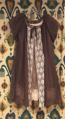 Vintage Peignoir Lingerie Set Sheer Brown Lace Nightgown and Robe Medium