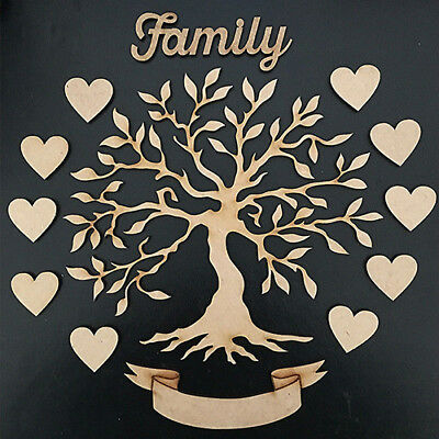 MDF Family Tree Kit, Free Hearts,Family Word,Scroll Banner ,Wooden,Craft,Blank