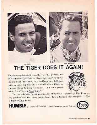 1966 Humble Oil Esso Jim Clark Jack Brabham The Tiger Does it Again AD