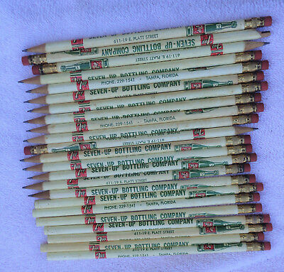 20 plus Tampa Florida Seven Up Bottling Company wooden advertising pencils