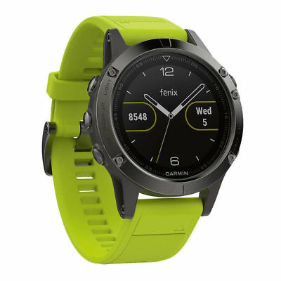 Garmin Fenix 5 Slate Grey Premium Multisport GPS Watch 47mm Amp Yellow Band