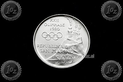 SAN MARINO 500 LIRE 1980 (MOSCOW OLYMPICS BOXING) SILVER Comm coin (KM# 110) UNC