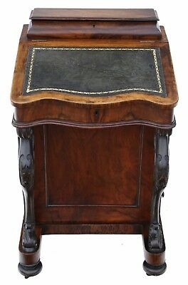 Antique quality Victorian C1880 figured walnut davenport writing table desk