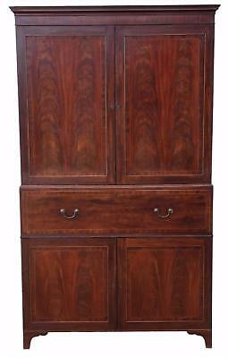 Antique Regency C1825 mahogany secretaire linen press wardrobe