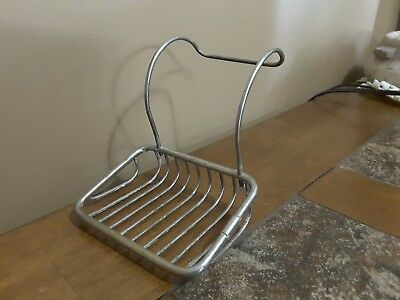 Vintage Antique Metal Hanging Soap Dish Holder Wire Basket Claw Foot Tub