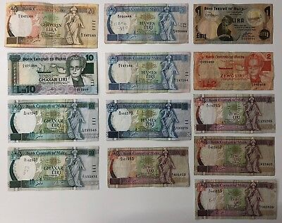 13 x Mixed Banknote Collection - MALTA.  (2162)