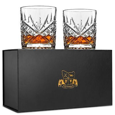 Whiskey Glasses - Lead Free Crystal. Set of 2 for Bourbon, Liquor. Perfect Gift.