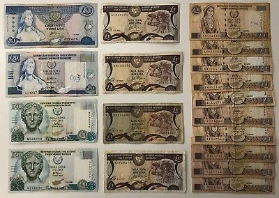 18 x Mixed Banknote Collection - CYPRUS.  (2161)