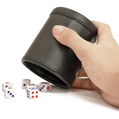 UK Black Durable Leather Dice Cup Shaker KTV Party Bar Guessing Casual Tools New