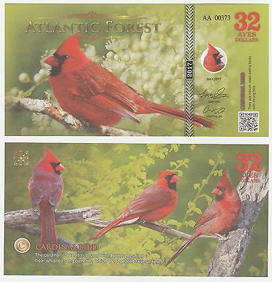 Atlantic Forest 32 Aves Dollars 2017 NEW Fantasy Banknote - Cardinal Bird