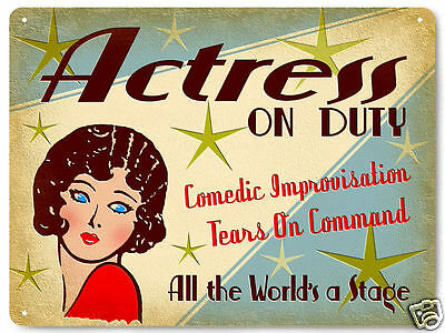 HOLLYWOOD ACTRESS metal sign ON DUTY MOVIE FILMS vintage style  art 256