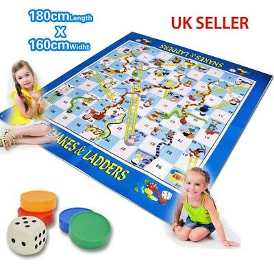 deAO Snakes and Ladders Play Mat Rug- Floor Board Game (Super Giant) Portable