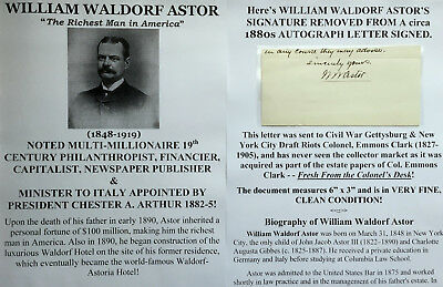 Millionaire Financier Capitalist Diplomat William Waldorf Astor Autograph Signed