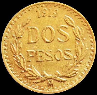 1919 Gold Mexico 2 Pesos Coin About Uncirculated Condition