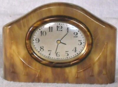 Art Deco 1930s Tortoiseshell Pattern Dressing Table Clock, Digital Conversion.