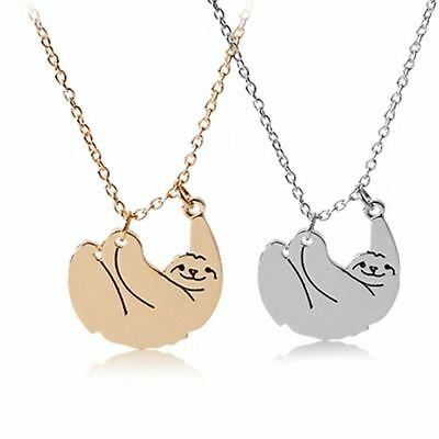 Cute Hanging SLOTH Necklace Pendant Chain Happy Animal Silver or Gold UK 3for2