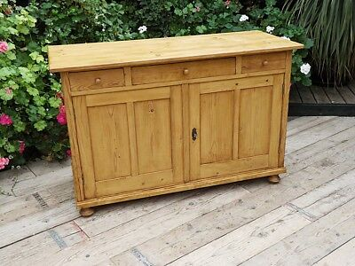 Wow! Large Old Antique Pine Sideboard/cupboard/cabinet/dresser Base. We Deliver!