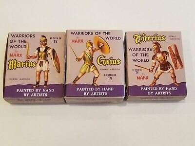 Marx WARRIORS OF THE WORLD 3 Roman Warriors, never played with NIB Vintage