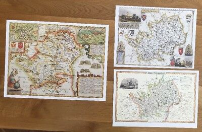 3 x Old Antique Colour maps of Hertfordshire, England: 1600's & 1800's: Reprint