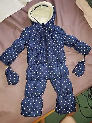 George Baby Girls Navy Blue Spotty Snow Jacket Age 12-18 Months