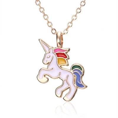 Colourful UNICORN Necklace Chain Pendant Alloy Magical Horse Kids Horn 3for2 UK