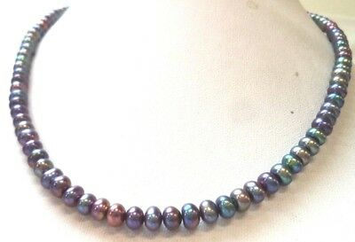 "Stunning Vintage Estate Signed 925 Sterling Tahitian Pearls 16"" Necklace!! 1506L"