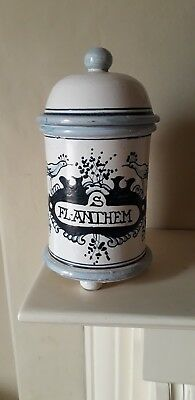 Vintage hand painted Apothecary/Pharmacy Ware Lidded Jar FL. ANTHEM
