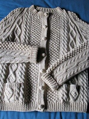 vintage hand-knit Irish fisherman's cardigan, 100% wool, excellent condition