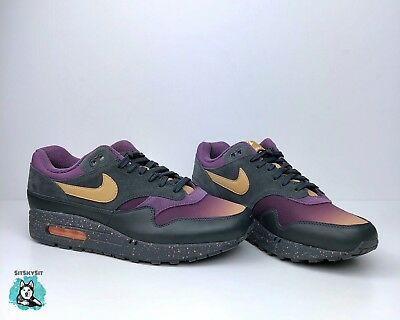 sports shoes d09f2 c3341 Nike Air Max 1 Premium Fade Pack Anthracite Gold Pro Purple 875844-002 Size  9