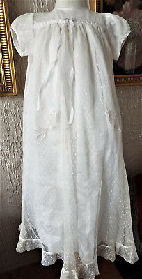 Vintage Baby  Christening Gown/ Silk And Sprigged  Net