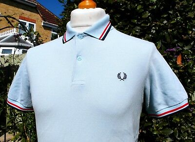 Fred Perry M1200 Ice Blue Twin Tipped Pique Polo - S/M - Ska Mod Scooter Casuals