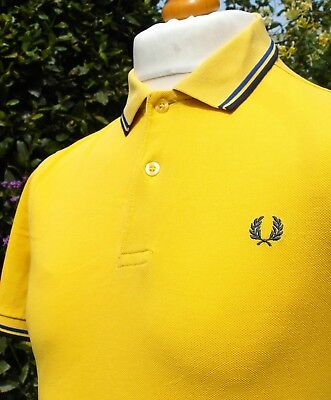 Fred Perry M1200 Gold Yellow Twin Tipped Polo - S/M - Ska Mod Scooter Casuals