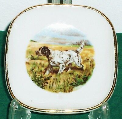 Limoges_Vintage Mini Plat Porcelaine à Motif CHIEN_Cendrier_Tabac_Dog_Ashtray