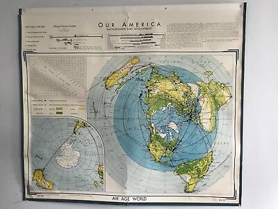 Vintage 1966 Denoyer-Geppert AIR AGE WORLD Colorful Wall Map