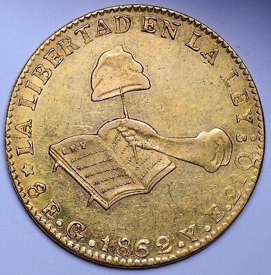 Lustrous Almost Uncirculated 1862 Over 1 Mexico Gold 8 Escudos -Cheapest By $450