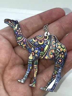 "Camel Large Enamel Double-sided with Tibetan Silver 18"" Necklace D-1131"