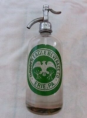 ACL Painted GOLDEN EAGLE BEVERAGE CO. Seltzer Siphon Bottle Soda Water Erie PA