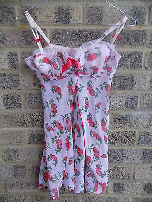 Pink White Polkadot Chiffon Strawberry Print Baby Doll